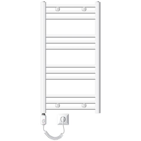 Radiateur sèche-serviettes à élément chauffant 300 W modèle ECD Germany Sahara 500 x 800 mm orifice latéral plié blanc porte-serviette