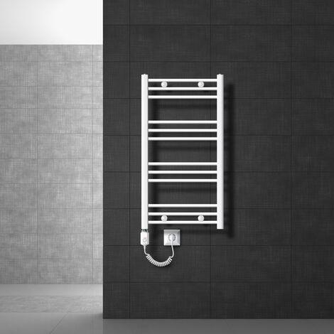 Radiateur sèche-serviettes à élément chauffant 600 W modèle ECD Germany Sahara 500 x 800 mm orifice latéral plié blanc porte-serviette