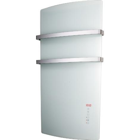 Radiateur sèche-serviettes à rayonnement façade en verre Miro Supra - 1500 W - Blanc - Prise USB