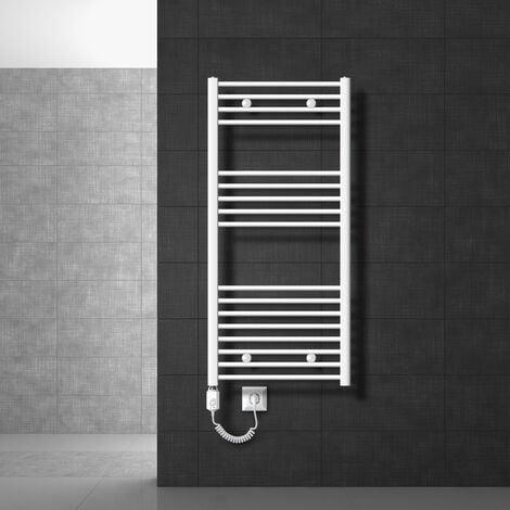 Radiateur sèche-serviettes chauffée avec un élément chauffant 1200 W ECD Germany Modèle Sahara 600 x 1200 mm blanc porte-serviettes de connexion latérale incurvée