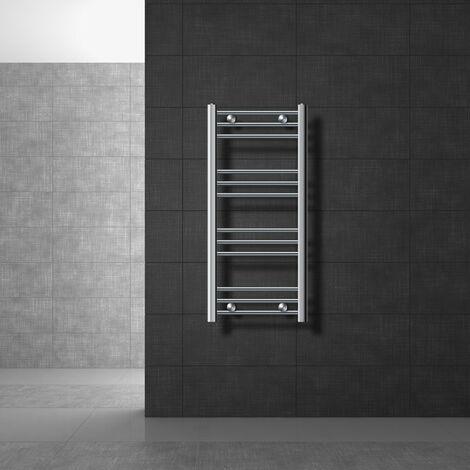 Radiateur sèche-serviettes ECD Germany Modèle Sahara 400 x 800 mm chrome droite avec porte-serviettes de connexion côté