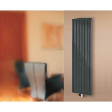Radiateur vertical à eau chaude Lyon, noir, raccord central : 3 largeurs - Schulte