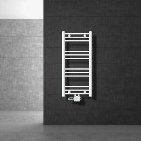 radiateurs de salle de bain avec kit de connexion de connexion universelle incl. Thermostat ECD Germany Modèle Sahara 400 x 800 mm droit blanc avec connexion moyen porte-serviettes