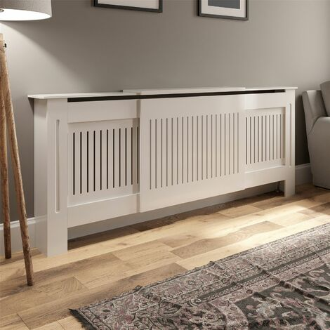 Radiator Cover Adjustable - White Vertical Style