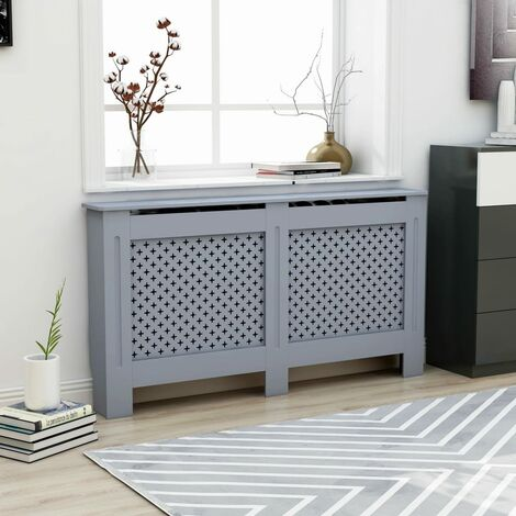 Radiator Cover Anthracite 152x19x81 cm MDF - Grey