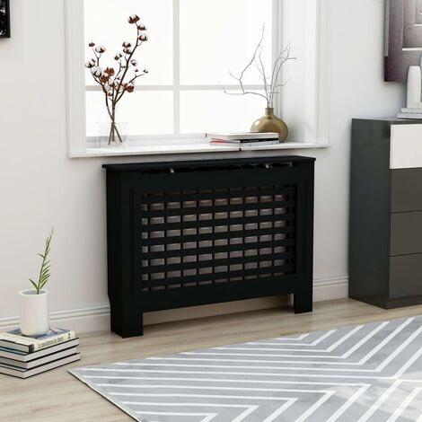 Radiator Cover Black 112x19x81 cm MDF - Black