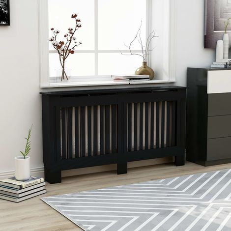Radiator Cover Black 152x19x81 cm MDF