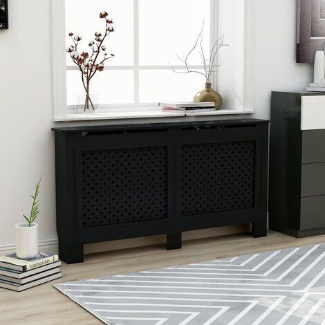 Radiator Cover Black 152x19x81 cm MDF - Black