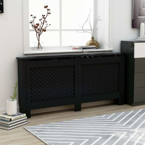 Radiator Cover Black 172x19x81 cm MDF - Black