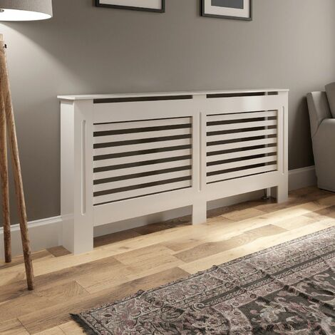 Radiator Cover Large - White Horizontal Style