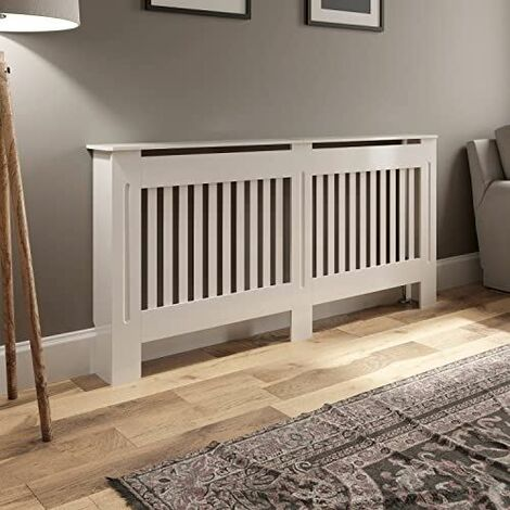 Radiator Cover Medium - White Vertical Style