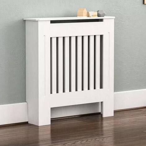 """main image of """"Radiator Cover Modern Slatted Grill Slats White Painted MDF Cabinet, different size available"""""""