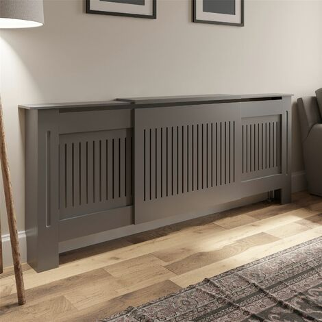 Radiator Cover Wall Cabinet Adjustable MDF Wood Grey Vertical Style Modern