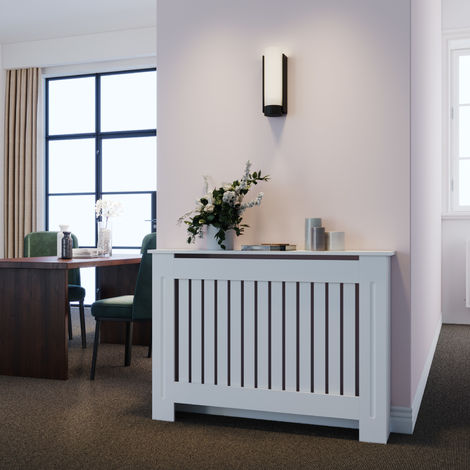 Radiator Covers Modern Slat White Painted Cabinet Radiator Shelve for Living Room/Bedroom/Kitchen,
