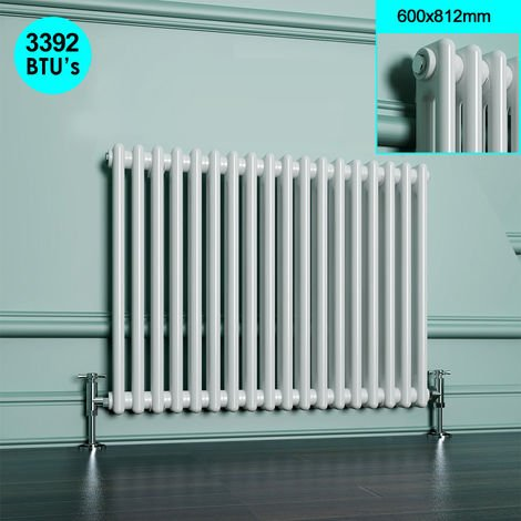 Radiator White Double Column 600 x 812 mm Traditional Horizontal Cast Iron Style