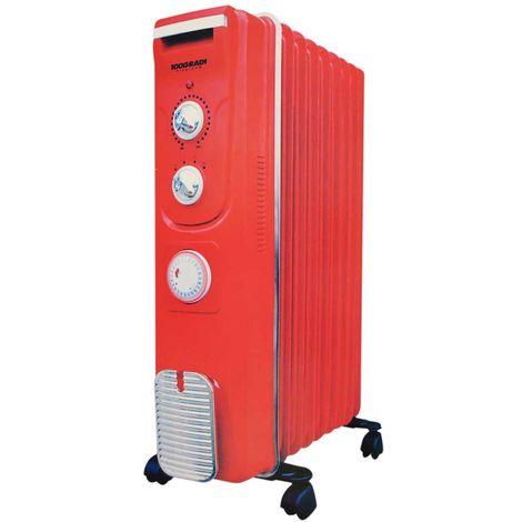 Radiatore ad Olio 100 Gradi 9 Elementi Potenza 2000W Termostato Regolabile Ruote