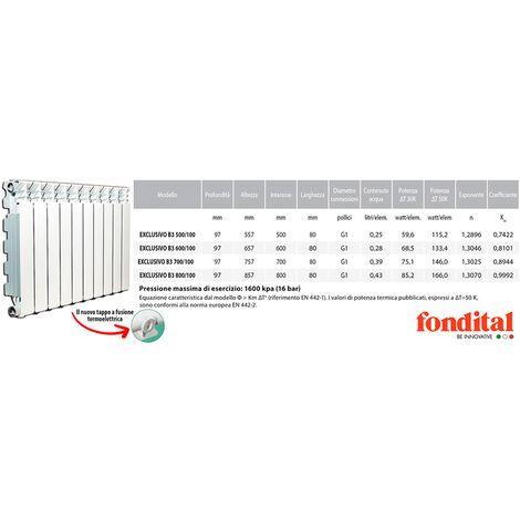 Radiatore alluminio Fondital Exclusivo interasse 500 mm altezza 557 mm