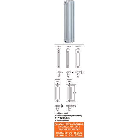 Radiatore tubolare verniciato bianco 3 colonne h.2000