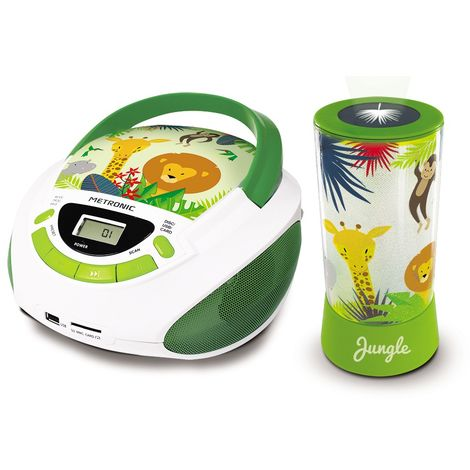 Radio CD et lampe LED projection style Jungle