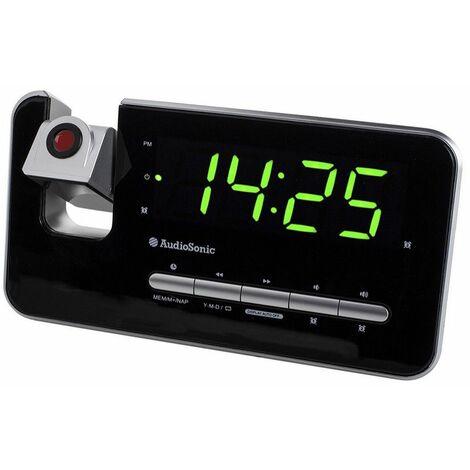 radio réveil avec projecteur noir/argent - cl-1492 - audiosonic