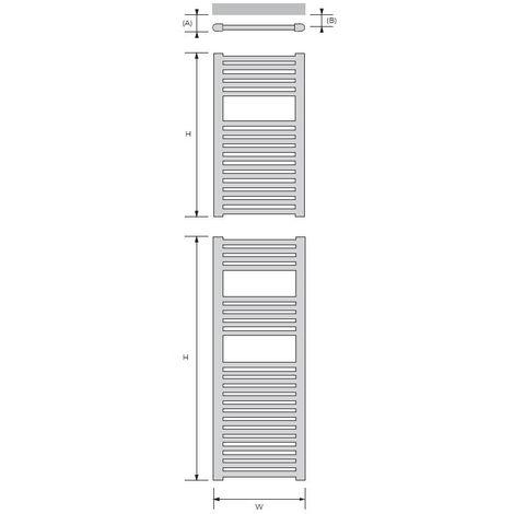 Rads 2 Rails Aldgate Chrome Steel Straight Tube Towel Rail 800mm x 600mm Dual Fuel - Thermostatic