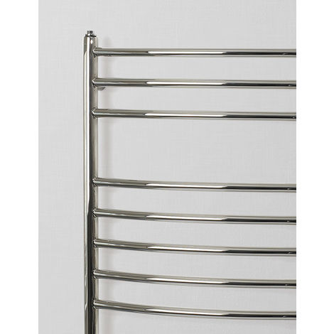Rads 2 Rails Belsize Polished Stainless Steel Curved Towel Rail 1200mm x 500mm Dual Fuel - Thermostatic