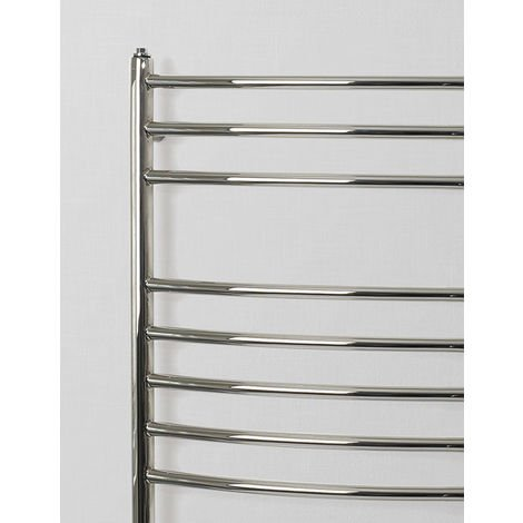 Rads 2 Rails Belsize Polished Stainless Steel Curved Towel Rail 1200mm x 500mm Electric Only - Thermostatic