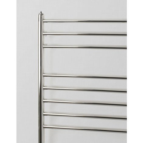 Rads 2 Rails Belsize Polished Stainless Steel Straight Towel Rail 1200mm x 500mm Dual Fuel - Thermostatic