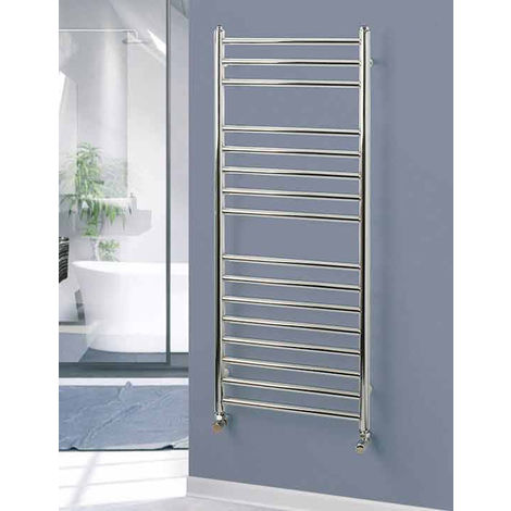 Rads 2 Rails Belsize Polished Stainless Steel Straight Towel Rail 1200mm x 500mm Electric Only Thermostatic