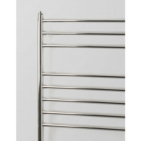 Rads 2 Rails Belsize Polished Stainless Steel Straight Towel Rail 1200mm x 600mm Dual Fuel - Thermostatic