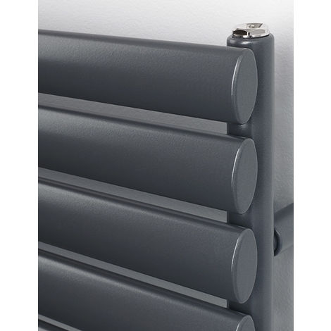 Rads 2 Rails Finsbury Anthracite Oval Steel Tube Towel Rail 1200mm x 500mm Electric Only - Standard