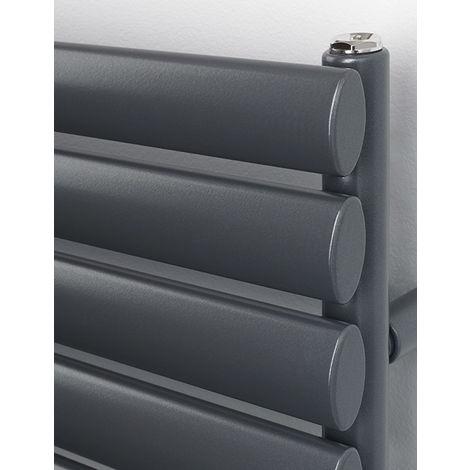 Rads 2 Rails Finsbury Anthracite Oval Steel Tube Towel Rail 1200mm x 600mm Dual Fuel - Standard