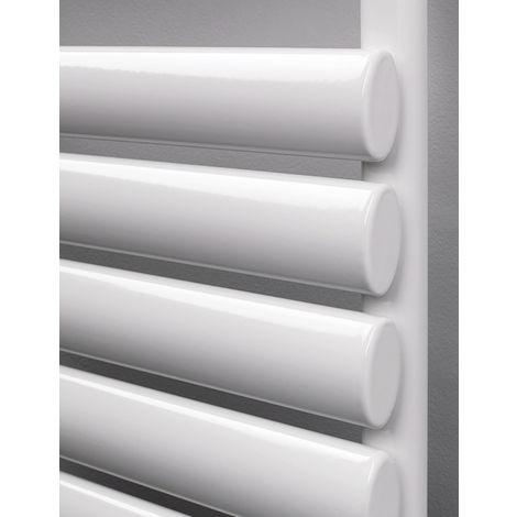 Rads 2 Rails Finsbury White Oval Steel Tube Towel Rail 1200mm x 500mm Dual Fuel - Thermostatic