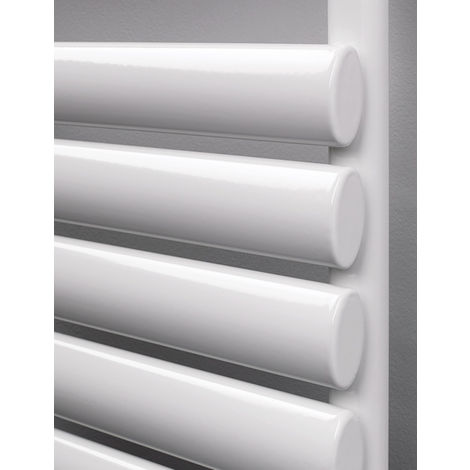 Rads 2 Rails Finsbury White Oval Steel Tube Towel Rail 965mm x 500mm Dual Fuel - Thermostatic