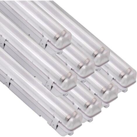 Réglette LED étanche double pour Tubes lumineuse LED T8 120cm IP65 (boitier vide) (Pack de 8)