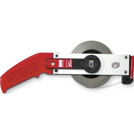 Rahmenbandmaß ERGOLINE L.50m Band-B.13mm A mm/cm EG II Alu.weiß Stahlmaßband BMI