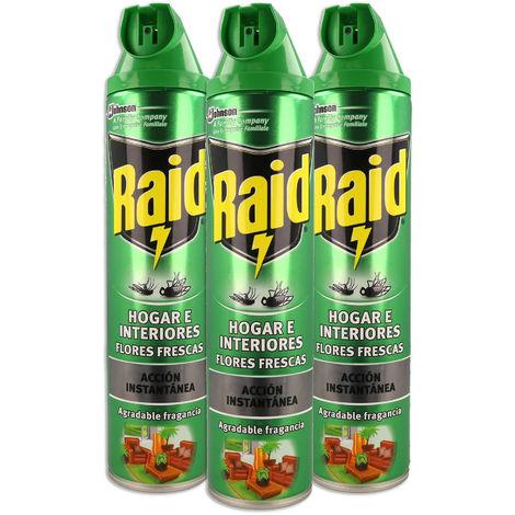 Raid - Insecticida Hogar e Interiores aroma Flores frescas, acción instantanea, aerosol, 600ml (Pack de 3)