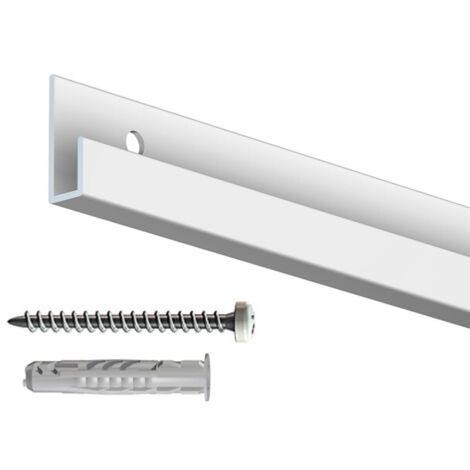 Rail cimaise classic blanc 200cm + vis & chevilles murs durs - couleur : blanc - typedemur : plein / dur