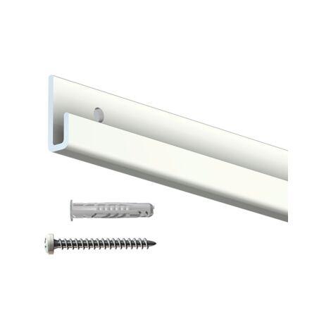 Rail cimaise Classic+ blanc + vis & chevilles murs creux - couleur : blanc - typedemur : creux