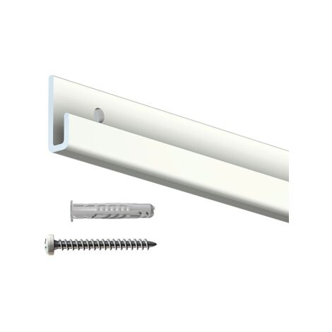Rail cimaise Classic+ blanc + vis & chevilles murs durs - couleur : blanc - typedemur : plein / dur