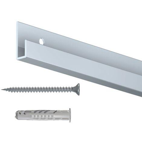 Rail cimaise classic gris 200cm + vis & chevilles murs creux - couleur : gris - typedemur : creux