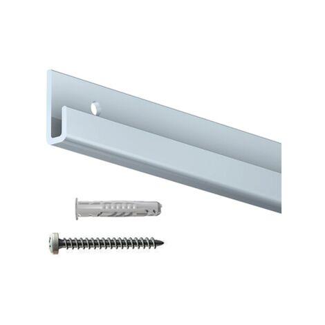 Rail cimaise Classic+ gris + vis & chevilles murs durs - couleur : gris-aluminium - typedemur : plein / dur