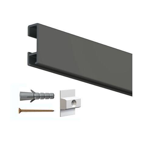 Rail cimaise click 200cm + clips de fixation + vis & chevilles - couleur : Noir - typedemur : creux