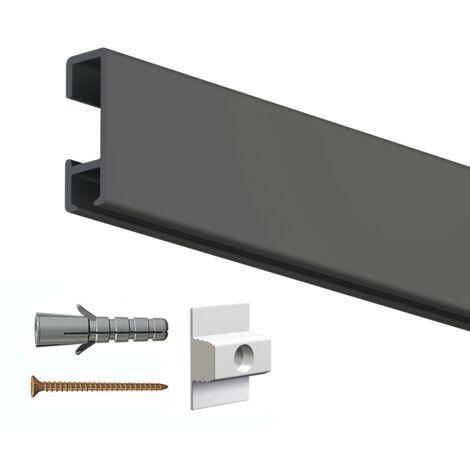 Rail cimaise click 200cm + clips de fixation + vis & chevilles - couleur : Noir - typedemur : plein / dur