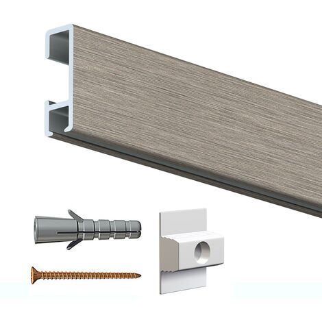 Rail cimaise click alu 200cm + clips de fixation + vis & chevilles murs creux - couleur : alu brossé - typedemur : creux