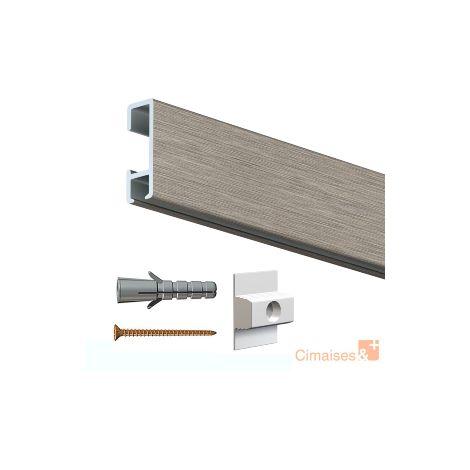 Rail cimaise click alu 200cm + clips de fixation + vis & chevilles murs durs - couleur : alu brossé - typedemur : plein / dur