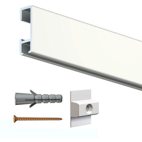 Rail cimaise click blanc laqué 200cm + clips de fixation + vis & chevilles murs creux - couleur : blanc laqué - typedemur : creux
