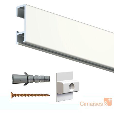 Rail cimaise click blanc laqué 200cm + clips de fixation + vis & chevilles murs durs - couleur : blanc laqué - typedemur : plein / dur