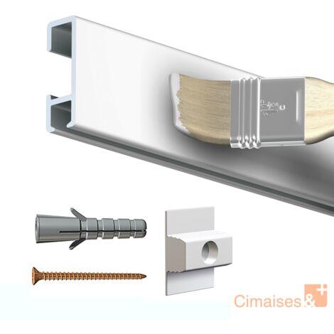 Rail cimaise click brut à peindre 200cm + clips de fixation + vis & chevilles murs creux - couleur : blanc primaire, brut à peindre - typedemur : creux