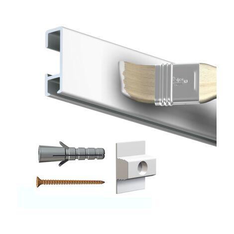 Rail cimaise click brut à peindre 200cm + clips de fixation + vis & chevilles murs durs - couleur : blanc primaire, brut à peindre - typedemur : plein / dur